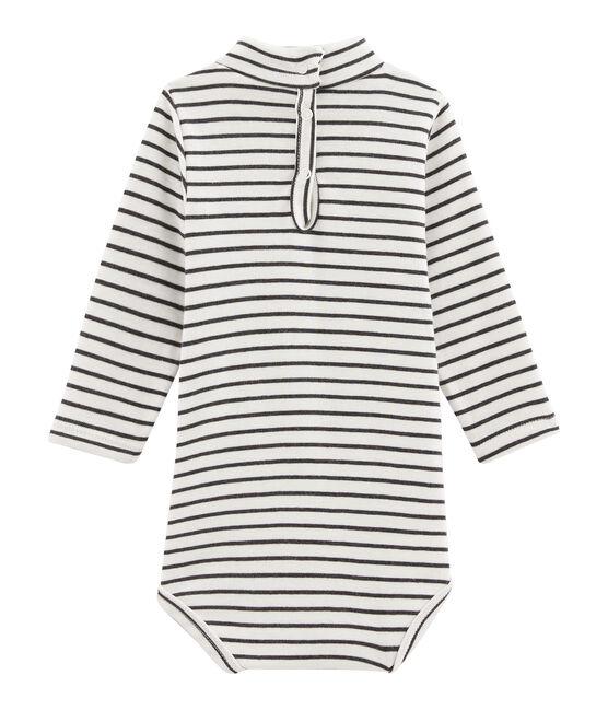 Body de manga larga y cuello redondo para bebé unisex blanco Marshmallow / negro City