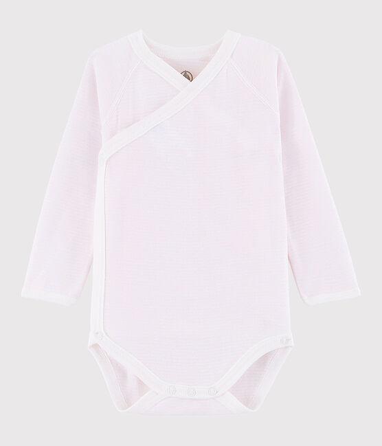 Bodi cruzado de manga larga de bebé niña rosa Vienne / blanco Marshmallow