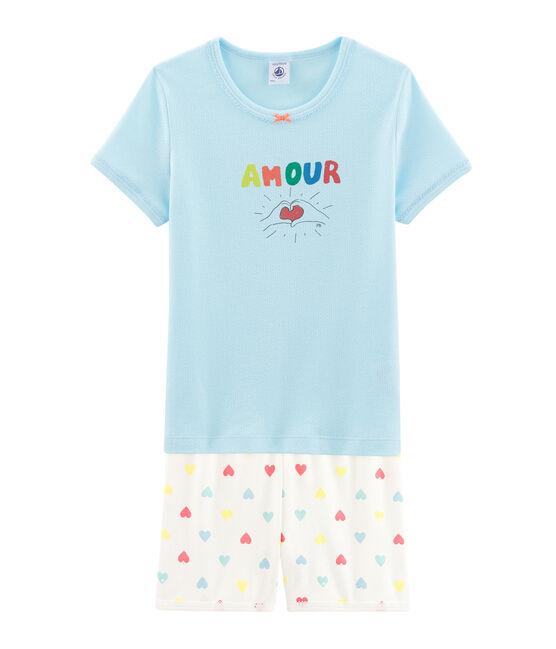 Pijama corto de punto para niña azul Glacis / blanco Multico