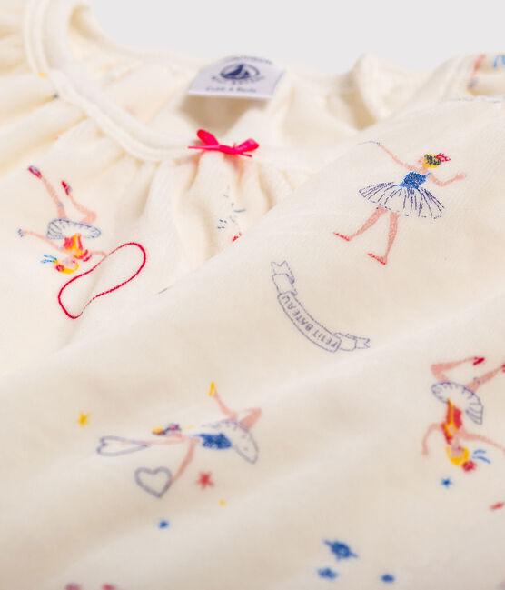 Pijama con estampado mágico de niña de terciopelo blanco Marshmallow / blanco Multico