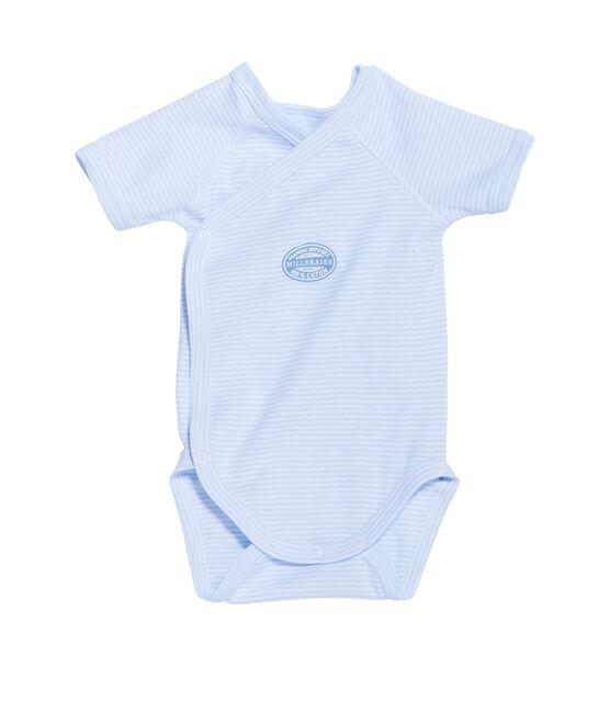 Body de manga corta milrayas de primera puesta para bebé niño azul Fraicheur / blanco Ecume