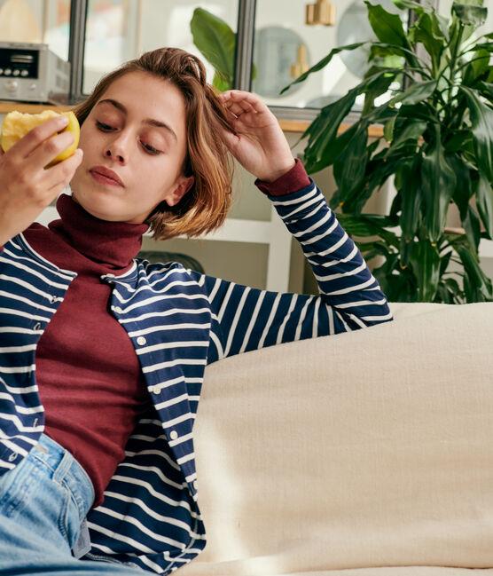 Cárdigan icónico para mujer azul Smoking / blanco Marshmallow