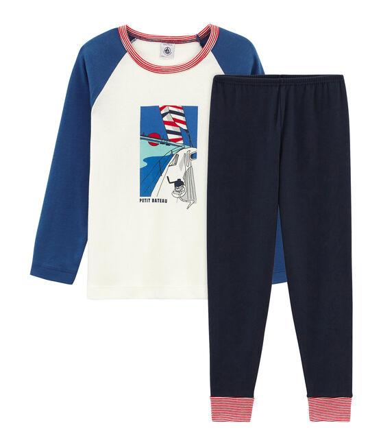 Pijama de punto para niño azul Smoking / blanco Multico