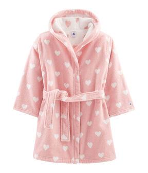 Albornoz de rizo para niña rosa Charme / blanco Marshmallow