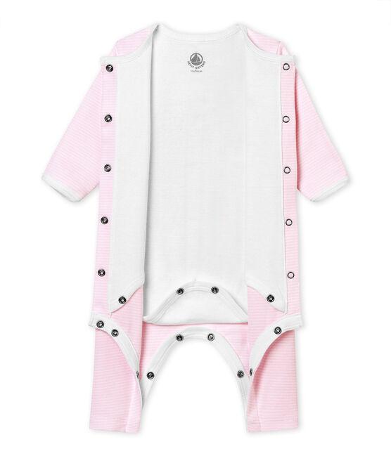 El Bodi pijama bebé mixto rosa Vienne / blanco Ecume