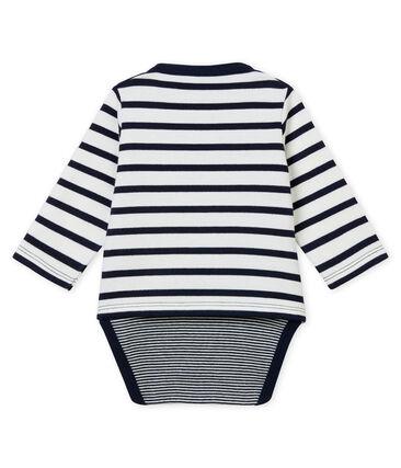 Icónico bodi marinero para bebé niño blanco Marshmallow / azul Smoking