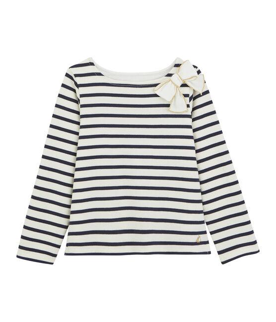 Marinera con lazo para niña blanco Marshmallow / azul Smoking