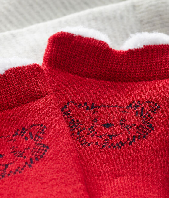 Lote de 2 pares de calcetines para bebé unisex rojo Terkuit