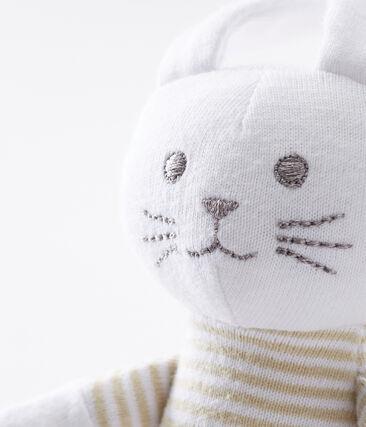 Peluche de conejo para bebé de punto beige Perlin / blanco Marshmallow