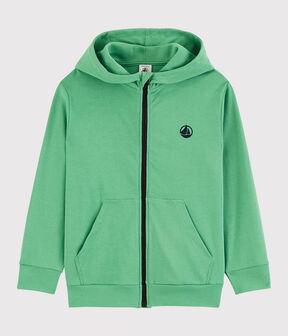Sudadera con cremallera y capucha de algodón de niño verde Aloevera