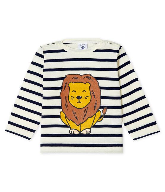 Camiseta marinera de creación compartida de bebé unisex beige Coquille / azul Smoking