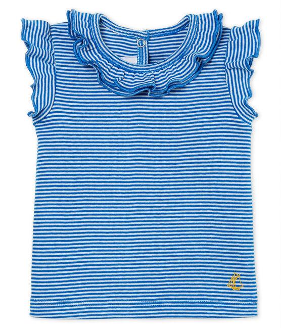 Blusa manga corta de rayas para bebé niña azul Riyadh / blanco Marshmallow