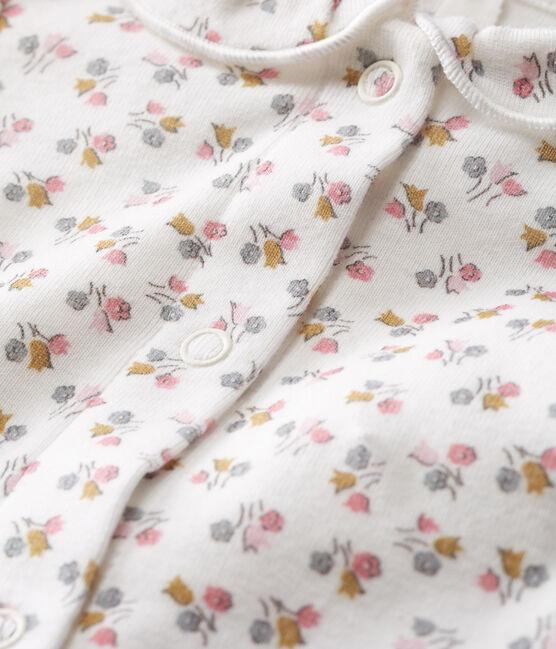 Body de nacimiento manga larga para bebé niña de punto blanco Marshmallow / rosa Charme