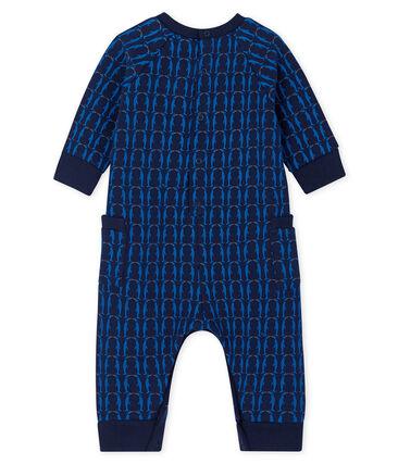 Mono largo en muletón de bebé niño azul Smoking / blanco Multico