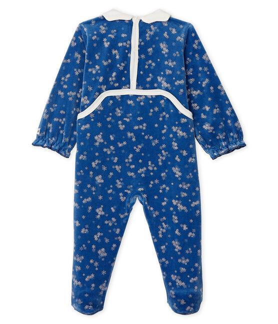 Pijama de terciopelo para bebé niña azul Major / blanco Marshmallow