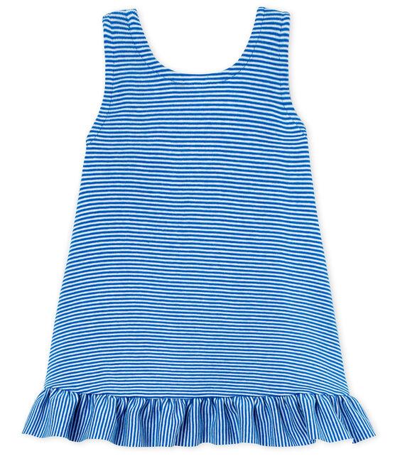 Vestido sin mangas para bebé niña azul Riyadh / blanco Marshmallow
