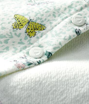 Cárdigan de muletón estampado para bebé niña blanco Marshmallow / blanco Multico