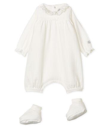 Conjunto de mono y patucos para bebé de tela de mantilla blanco Marshmallow