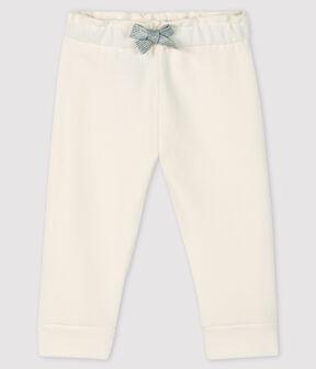 «Legging» de muletón para bebé niña blanco Marshmallow
