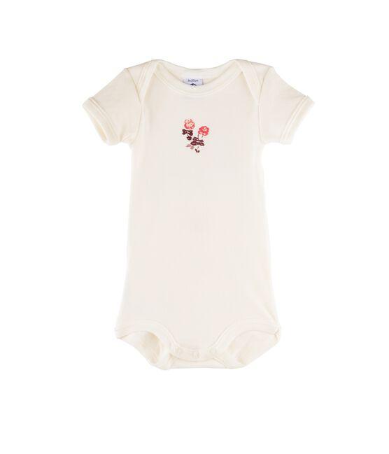 Body de manga corta para bebé niña blanco Marshmallow / rosa Flashy