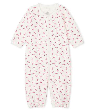 Mono-saco para bebé de punto blanco Marshmallow / rosa Groseiller