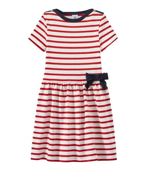 Vestido niña a rayas blanco Marshmallow / rojo Terkuit