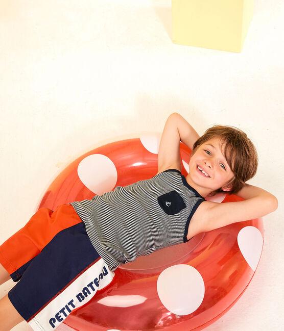 Camiseta de tirantes de niño azul Smoking / blanco Marshmallow