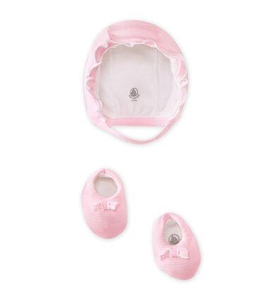 Conjunto de capota y zapatitos bebé niña