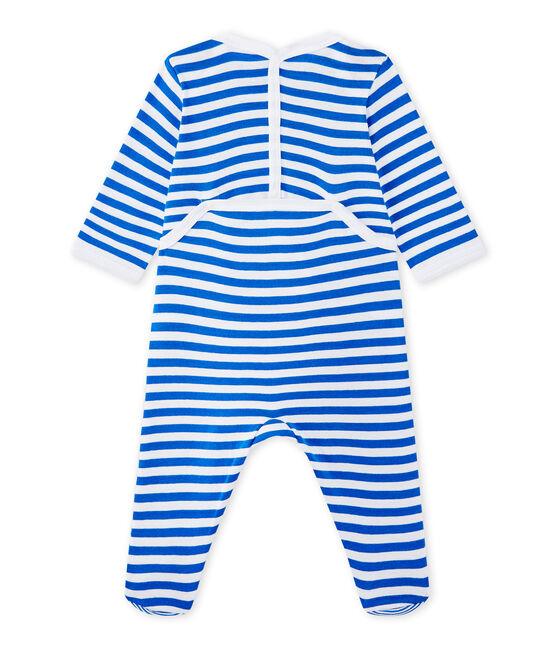 Pijama de rayas para bebé niño azul Perse / blanco Ecume