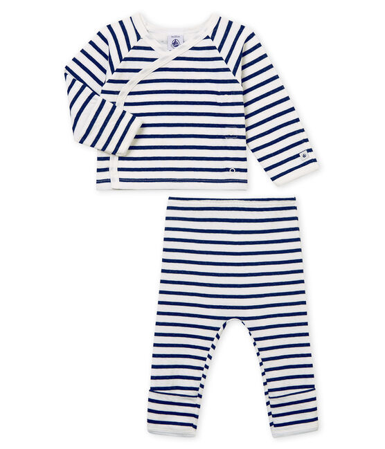 Pijama unisex de bebé en túbico blanco Marshmallow / azul Smoking