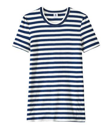 Camiseta de mujer en canalé original de rayas azul Medieval / blanco Marshmallow