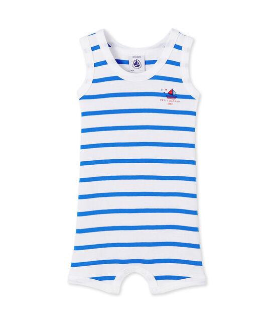 Combicourt bébé garçon rayé blanco Ecume / azul Delphinium