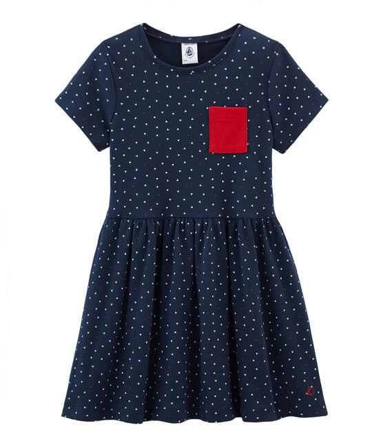 Vestido infantil para niña azul Haddock / blanco Multico