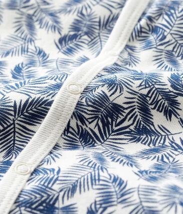 Pelele corto de punto para bebé de niño blanco Marshmallow / azul Bleu