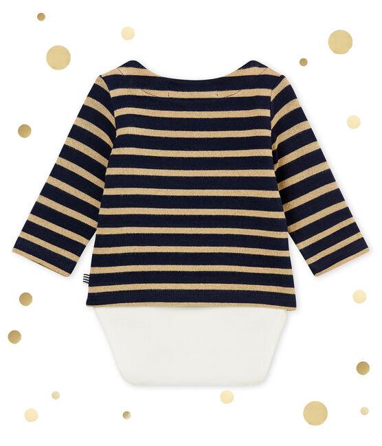 Body marinero brillante para bebé niña azul Smoking / marrón Brindille Brillant