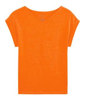 Camiseta de lino para mujer naranja Tiger