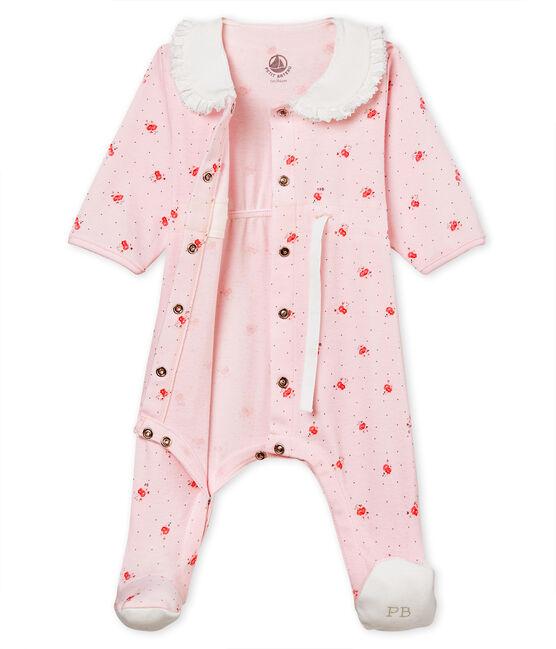 Pelele de punto 1x1 estampado para bebé niña rosa Vienne / blanco Multico