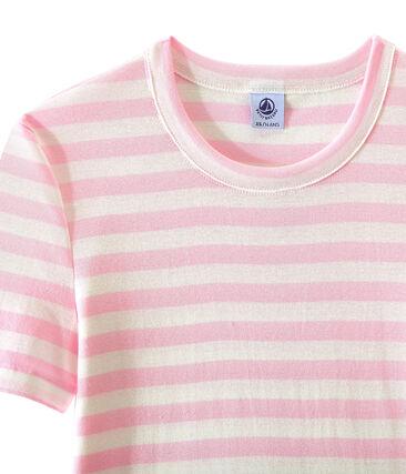 Camiseta de mujer en canalé original de rayas rosa Babylone / blanco Marshmallow