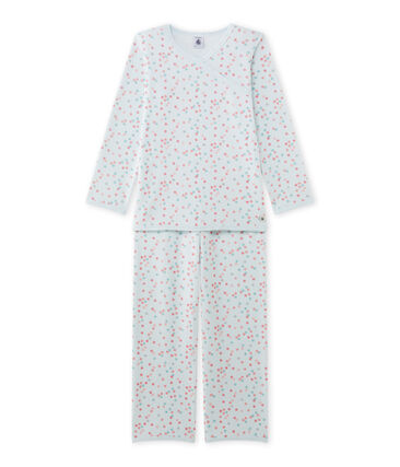 Pijama de terciopelo para niña azul Bocal / blanco Multico
