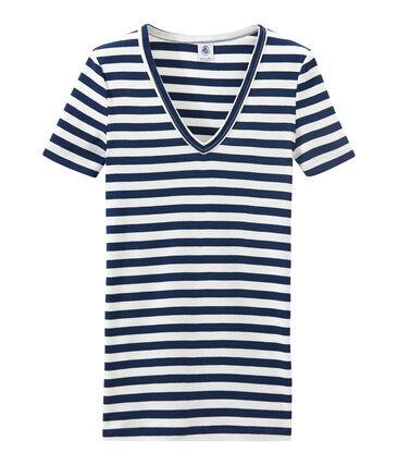Camiseta de canalé original de rayas con cuello en pico para mujer azul Medieval / blanco Marshmallow