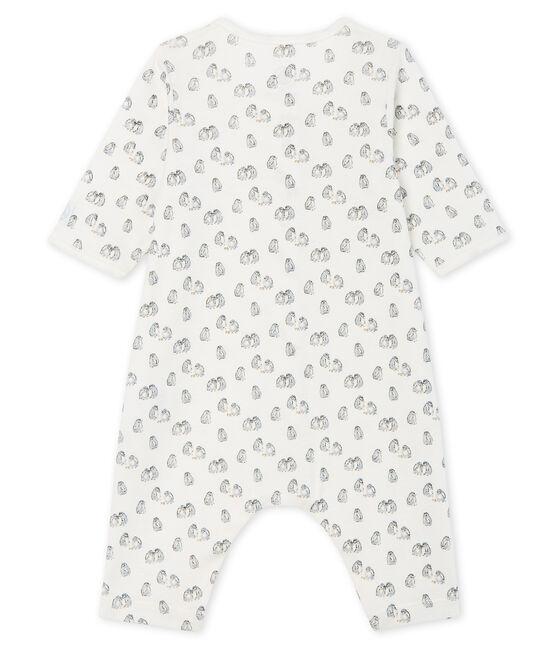 Pelele sin pies de punto para bebé blanco Marshmallow / azul Toudou