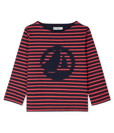 Camiseta marinera de mujer azul Smoking / rojo Signal