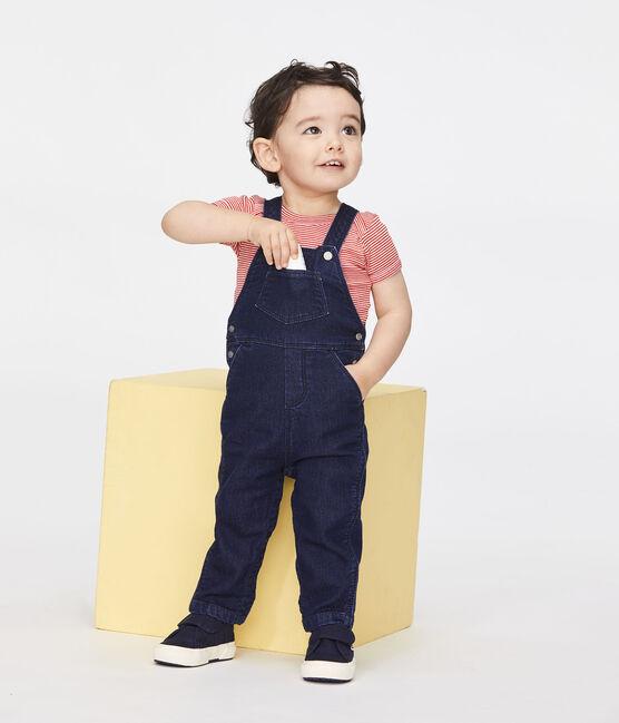 Peto largo de tela efecto vaquero para bebé unisex azul Jean