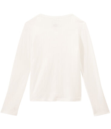 Cardigan en túbico extrafino para mujer blanco Marshmallow