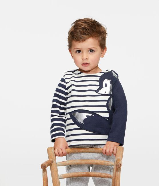 Jersey marinero renovado para bebé niño beige Coquille / azul Smoking