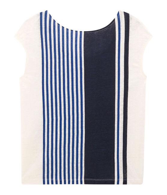 Camiseta manga corta de lino para mujer blanco Marshmallow / blanco Multico Cn
