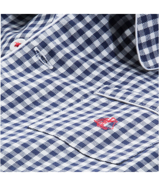 Pijama de sarga para niño azul Medieval / blanco Lait