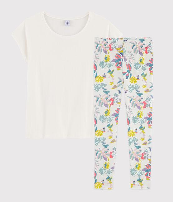 Pijama estampado jungla de chica - mujer de punto blanco Marshmallow / blanco Multico