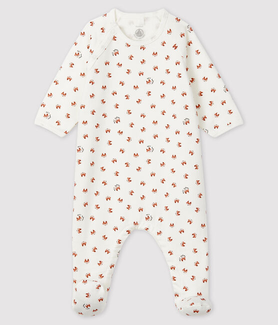Pijama de muletón con estampado de zorro para bebé blanco Marshmallow / blanco Multico