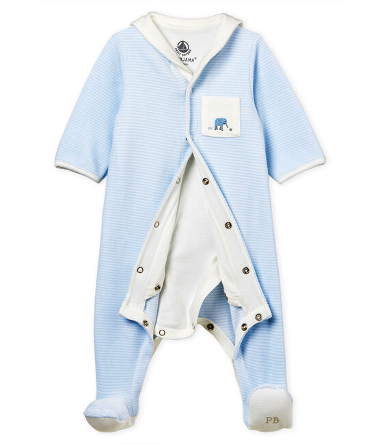 Bodyjama de terciopelo milrayas para bebé niño azul Fraicheur / blanco Ecume